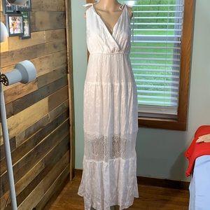 White Lace Summer Beach Maxi Dress XL